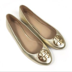 Tory Burch Claire Ballerina Flat In Spark Gold 8.5
